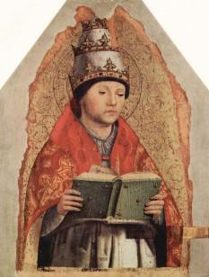 Sf. Papă Grigore I, cunoscut ca Grigore cel Mare [lat. Sanctus Gregorius Magnus] și ca Grigore Dialogul (* cca. 540, Roma - † 12 martie 604, Roma), papă al Romei din 590 până la moartea sa, pe 12 martie 604. Este doctor al Bisericii și unul dintre cei șase părinți apuseni ai Bisericii, alături de Ambrozie, Augustin de Hipona, Ieronim, Tertulian și Ciprian de Cartagina. A fost și primul călugăr care a devenit papă. Este recunoscut ca sfânt imediat după moartea sa, atât în Biserica Romano-Catolică cât și în Biserica Ortodoxă (Răsăriteană). Jean Calvin îl admiră pe papa Grigore și îl citează în lucrarea sa Învățătura religiei creștine. Este patronul muzicienilor, cântăreților, studenților și al învățătorilor. Considerat unul din cei mai însemnați papi din istorie  - in imagine, Papa Grigore I cel Mare, pictură de Antonello da Messina  - foto: ro.wikipedia.org