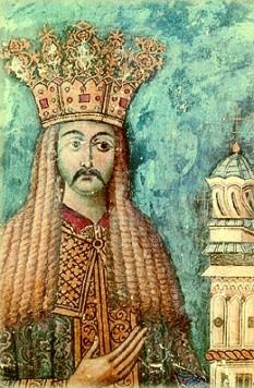 Neagoe Basarab (n. ~1459 – d. 1521) a fost domnul Țării Românești între 1512 și 1521. Soția sa a fost doamna Despina, din familia sârbă Brancovici - in imagine,  Neagoe Basarab. Frescă de la Mănăstirea Curtea de Argeș - foto: ro.orthodoxwiki.org