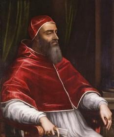 Papa Clement al VII-lea (nume burghez: Giulio de´Medici; n. 26 mai 1478 la Florența; d. 25 septembrie 1534 la Roma), membru al familiei de´Medici și papă al Romei din 18 noiembrie 1523 până la moartea lui - foto (Clement VII. Sebastiano del Piombo. c.1531): ro.wikipedia.org