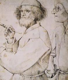 Pieter Bruegel cel Bătrân (n. ca. 1525, Kempen - d. 18 septembrie 1569, Bruxelles), numit și Bruegel al Țăranilor, este cel mai de seamă pictor flamand al secolului al XVI-lea - foto (Pictorul şi clienta (gravură, 1565) probabil autoportret) : ro.wikipedia.org