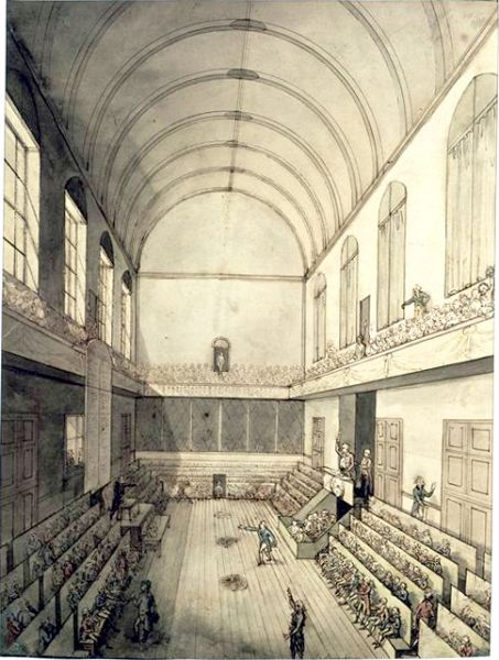 În Sala Manejului de la Tuileries s-a întrunit Convenția Națională până la 9 mai 1793. După aceea, sediul ei a devenit fosta sală a mașinilor din palatul Tuileries, un spațiu vast aflat la parter, folosită pentru diverse spectacole. În această ultimă sală, tribunele aveau 800 900 de locuri, în unele cazuri putând încăpea de două ori mai mulți oameni - foto: ro.wikipedia.org