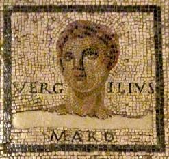 """Publius Vergilius Maro (cunoscut în limba română ca Virgiliu, n. 15 octombrie 70 î.Hr., Andes – d. 19 î.Hr., Brundisium/azi Brindisi), poet latin, autor al epopeii în versuri Aeneis (""""Eneida""""), considerată epopeea națională a romanilor - foto - Mozaic în Landesmuseum din Trier (Germania): ro.wikipedia.org"""