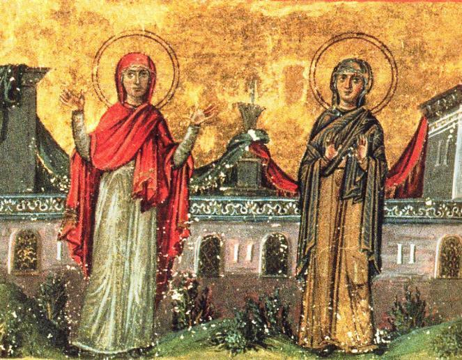 Sfintele Cuvioase Xantipa și Polixenia. Prăznuirea lor de către Biserica Ortodoxă se face la data de 23 februarie - miniatură din Menologhionul lui Vasile al II-lea Macedoneanul - foto: foto: doxologia.ro