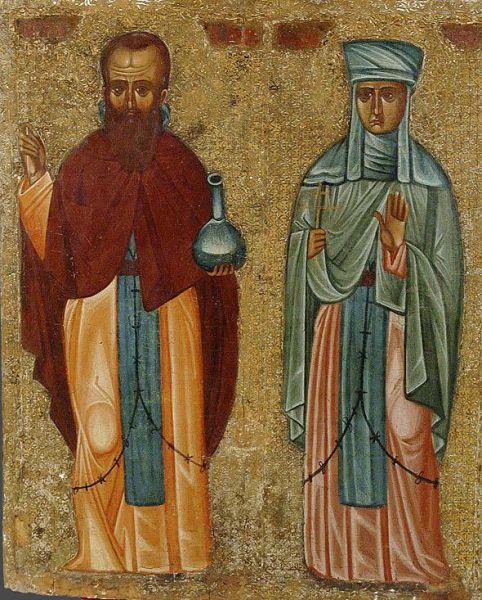 Sfinţii Cuviosi Andronic şi Atanasia, soţia lui. Prăznuirea lor de către Biserica Ortodoxă Romana se face la data de 9 octombrie - foto: doxologia.ro