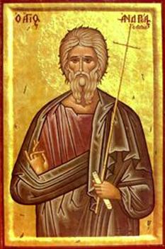 Sfântul, slăvitul și întru tot lăudatul Apostol Andrei, cel Întâi-chemat, era din Betsaida, Galileea, fiu al lui Iona și frate al lui Petru, cel dintâi dintre ucenicii lui Iisus Hristos. Este socotit ocrotitorul mai multor țări, între care România și Scoția. Prăznuirea lui principală se face la 30 noiembrie; mai este prăznuit și împreună cu ceilalți Apostoli la 30 iunie - foto: ro.orthodoxwiki.org