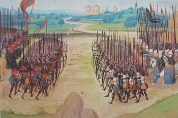 Bătălia de la Azincourt  a avut loc pe data de 25 octombrie 1415, la Azincourt, Franța, în timpul Războiului de O Sută de Ani, purtat între Anglia și Franța - foto (Ilustrație a bǎtaliei de la Azincourt din secolul al XIV-lea): ro.wikipedia.org