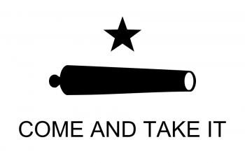 """Bătălia de la Gonzales. Reproducere digitală a drapelului """"Haideți să-l luați"""" înălțat de texani înainte de bătălie - foto - ro.wikipedia.org"""