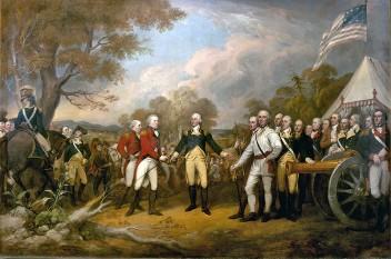 Bătălia de la Saratoga este considerată de mulți istorici ca un punct de cotitură în istoria americană. Ea fost o bătălie hotărâtoare în evoluția Războiului de independență al Statelor Unite ale Americii - foto (Capitularea generalului Burgoyne): ro.wikipedia.org