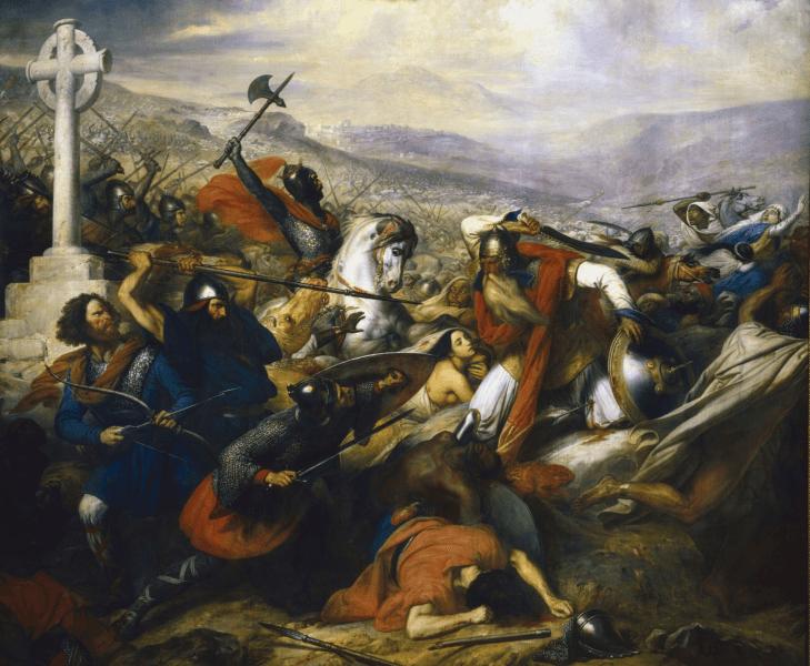 Bătălia de la Poitiers, octombrie 732 (pictură de Charles de Steuben). Charles Martel (călare) conduce armata creştină - foto: ro.wikipedia.org