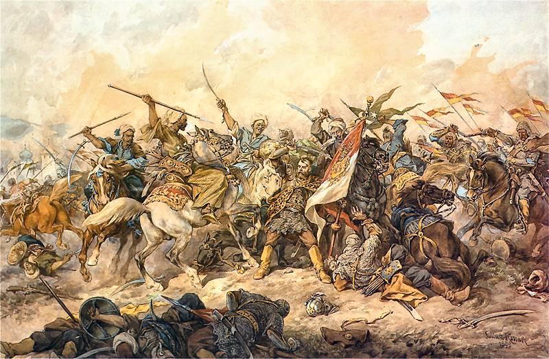 Bătălia de la Hotin din 1621 (în poloneză Bitwa pod Chocimiem) a fost o bătălie, dintre Uniunia Polono-Lituanianǎ sub conducerea lui Jan Karol Chodkiewicz și Imperiul Otoman, sub conducerea sultanului Osman al II-lea - in imagine, Apǎrarea steagului Uniunii (Defending the Polish banner at Chocim, by Juliusz Kossak, 1892) - foto: ro.wikipedia.org