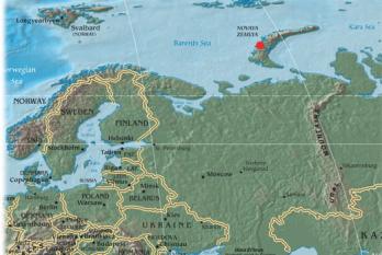 Novaia Zemlea. Locul exploziei bombei cu hidrogen denumită Bomba țarului (30 oct. 1961) foto: ro.wikipedia.org
