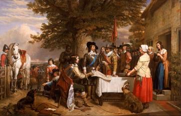Un tablou din sec. XIX reprezentându-l pe Carol I (cu eșarfa albastră) înainte de bătălia de la Edgehill, 1642 - foto: ro.wikipedia.org