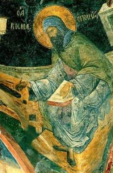 """Sfântul Cosma Imnograful, episcopul Maiumei, cunoscut şi sub numele de Cosma al Ierusalimului (Aghiopolitul) sau Cosma cel Tânăr († cca. 787) a fost un """"scriitor de cântări"""" (imnograf sau melod) al Bisericii Răsăritului și frate prin înfiere cu sfântul Ioan Damaschin. Prăznuirea lui în Biserica Ortodoxă se face pe 12 octombrie - foto: http://ro.orthodoxwiki.org/"""