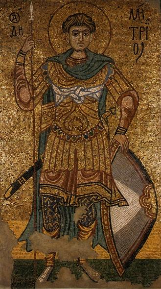 Sfântul Mare Mucenic Dimitrie, izvorâtorul de Mir, mozaic din secolul al XII-lea, aflat în prezent în Galeriile Tretiakov din Moscova - foto preluat de pe ro.orthodoxwiki.org