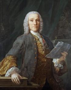 Domenico Scarlatti (* 26 octombrie 1685 în Napoli, Italia; † 23 iulie 1757 în Madrid, Spania), compozitor italian - foto - Domenico Scarlatti portret de Domingo Antonio Velasco (1738): ro.wikipedia.org