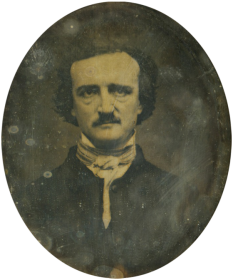 Edgar Allan Poe (n. 19 ianuarie 1809, Boston/Massachusetts - d. 7 octombrie 1849, Baltimore/Maryland), scriitor american, poet, romancier, nuvelist și critic literar, creator al genului de scurte povestiri și precursor al literaturii moderne de ficțiune științifico-fantastică - foto - Copie fotografică a lui Poe de Oscar Halling, făcută prin utilizarea daghereotipului «Thompson», unul din ultimele portrete ale lui Poe (1849): ro.wikipedia.org