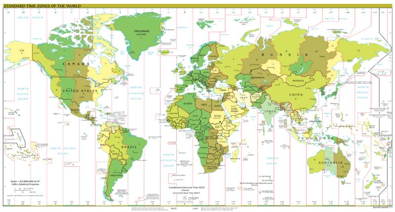 Fusurile orare mondiale standard - foto: ro.wikipedia.org