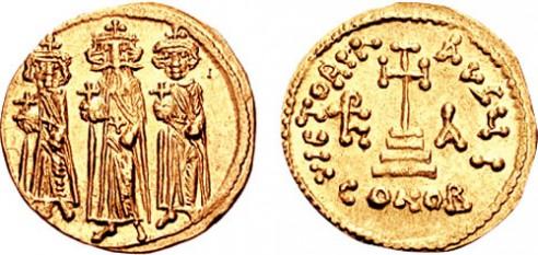 Heraclius I (latină: Flavius Heraclius Augustus) (n. 575; d. 11 februarie 641), împărat al Imperiului Roman de Răsărit (Bizantin) între 5 octombrie 610 și 11 februarie 641. El a fost întemeietorul dinastiei Heracliene - foto (Heraclius şi fii săi Constantin III și Heraklonas): ro.wikipedia.org