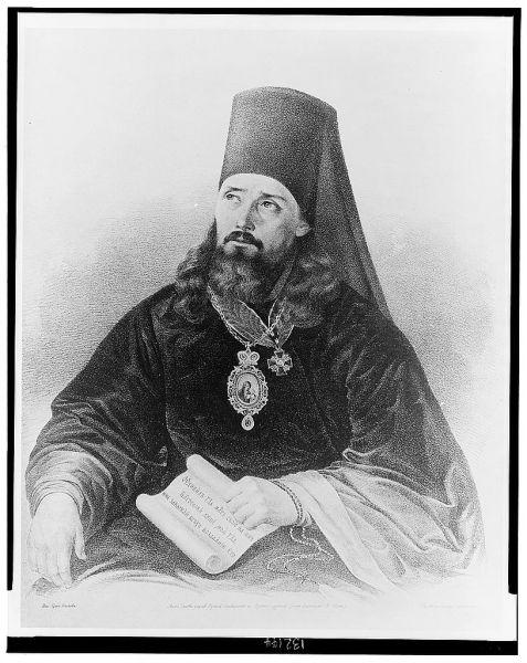 """Inochentie, Mitropolit de Moscova (1797-1879), numit """"Apostolul Alaskăi""""), a fost un preot ortodox rus, episcop, arhiepiscop și Mitropolit de Moscova și al Întregii Rusii. El este cunoscut pentru munca sa misionară, educativă și de conducere din Alaska și din Rusia Orientului Îndepărtat din secolul XIX. El este cunoscut pentru zelul depus dar și pentru abilitățile sale excepționale de profesor, lingvist și administrator. Inițial a fost misionar iar apoi episcop și arhiepiscop în Alaska și în Orientul Îndepărtat Rus. El a învățat câteva limbi ale nativilor și a fost autorul a multe din primele lucrări de erudiție referitoare la nativii din Alaska și la limbile lor, dar și a unor dicționare și lucrări religioase în aceste limbaje. De asemenea, el a tradus părți din Sfânta Scriptură în câteva din limbile nativilor din Alaska. Prăznuirea sa în Biserica Ortodoxă se face la data de 6 octombrie - foto: ro.orthodoxwiki.org"""
