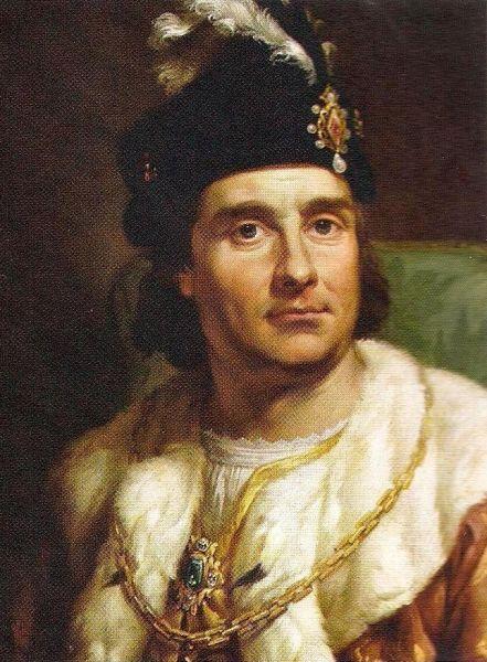 Ioan I Albert (n. 27 decembrie 1459, Cracovia – d. 17 iunie 1501, Toruń) a fost rege al Poloniei (1492–1501) şi duce de Głogów (1491–1498) - in imagine, Ioan I Albert, portret de Bacciarelli - foto preluat de pe ro.wikipedia.org