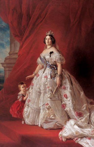 Isabela a II–a a Spaniei (n. 10 octombrie 1830, Madrid — d. 9 aprilie 1904, Londra) a fost regină a Spaniei - in imagine, Regina Isabela, pictură de Franz Xavier Winterhalter, 1852 - foto: ro.wikipedia.org