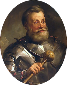 Jan Karol Chodkiewicz (c. 1560 – 24 September 1621) , was a military commander of the Polish-Lithuanian army who was from 1601 Field Hetman of Lithuania, and from 1605 Grand Hetman of Lithuania, and was one of the most prominent noblemen and military commanders of the Polish–Lithuanian Commonwealth of his era. His coat of arms was Chodkiewicz, as was his family name - foto: en.wikipedia.org
