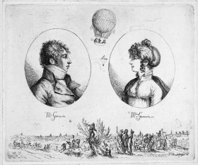Jeanne Geneviève Garnerin (1775–1847), née Labrosse, was a French balloonist and parachutist. She was the wife of André-Jacques Garnerin, a hydrogen balloonist and inventor of the frameless parachute - foto (Monsieur and Madame Garnerin (Christoph Haller von Hallerstein, c. 1803)): en.wikipedia.org