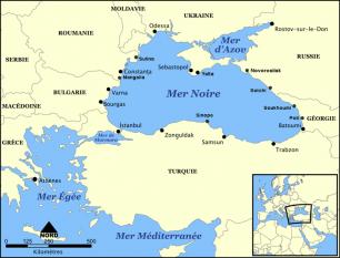 Marea Neagră este întinderea de ape din bazinul geomorfologic denumit pontic, unul din bazinele complexului tectonic tethysian, el însuși parte a orogenezei alpino-himalayene, din care fac parte și munții care o mărginesc la nord (în Crimeea), la nord-est (Caucazul) și la sud (lanțurile pontice) foto: ro.wikipedia.org