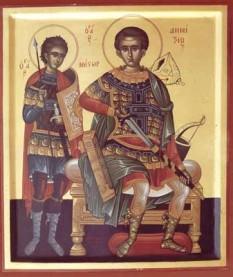 Sfântul Mare Mucenic Nestor impreuna cu  Sfantul Mucenic Dimitrie - foto: calendar-ortodox.ro