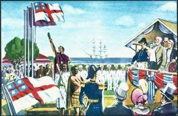 Drapelul Triburilor Unite ale Noii Zeelande.Astazi,acest drapel este inaltat la manifestarile poporului maori din Noua Zeelanda foto: cersipamantromanesc.wordpress.com