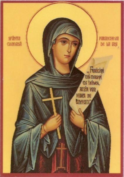 Sfânta Cuvioasă Parascheva cea Nouă sau Parascheva de la Iași este o sfântă cuvioasă cinstită în întreaga Biserică Ortodoxă și îndeosebi în România, Serbia, Grecia și Bulgaria. În România este considerată ocrotitoarea Moldovei, și este cea mai populară dintre toți sfinții ale căror moaște se află pe teritoriul României. Sute de biserici de parohie din România sunt închinate ei pentru a le ocroti. În popor, mai este cunoscută și ca Sfânta Vineri. Prăznuirea ei se face la 14 octombrie, când zeci de mii de oameni vin în fiecare an la Iași, ca să se închine la sfintele sale moaște - foto preluat de pe ro.orthodoxwiki.org