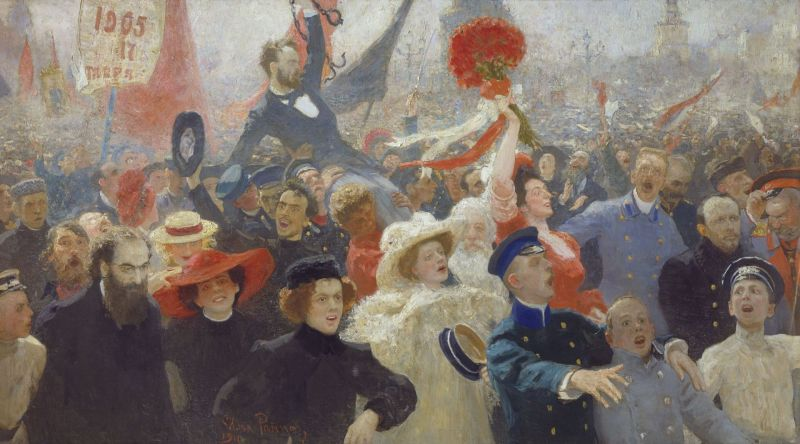 """Demonstration 17 October 1905"" by Ilya Repin (Russian Museum. St. Petersburg) - foto preluat de pe en.wikipedia.org"