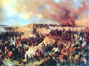 Războiul de șapte ani (1754 și 1756–1763), (părți ale căror teatre de conflagrație au fost numite și Războiul Pomeranian și Războiul francez și indian ), a implicat atât lupte în Europa, cât și în colonii - foto (:Bătălia de la Kunersdorf, de Alexander Kotzebue, 1848) ro.wikipedia.org