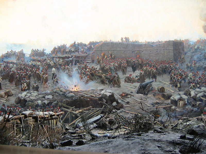 Războiul Crimeii (1853–1856) -Detail of Franz Roubaud's panoramic painting The Siege of Sevastopol (1904) - foto preluat de pe en.wikipedia.org