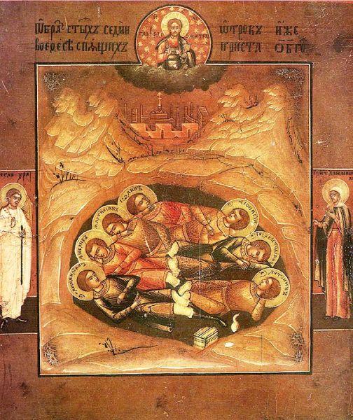 Legenda celor șapte tineri din Efes sau Legenda celor șapte adormiți este o povestire hagiografică creștină. Conform acesteia, cei șapte frați Maximian, Malchus, Martinian, Dionysius, Ioan, Serapion și Constantin au fost zidiți de vii într-o peșteră în timpul împăratului Decius (249-251 d.Hr) și au fost găsiți dormind acolo două sute sau trei sute de ani mai târziu - in imagine, Icoană rusă reprezentându-i pe cei şapte tineri din Efes - foto: ro.wikipedia.org