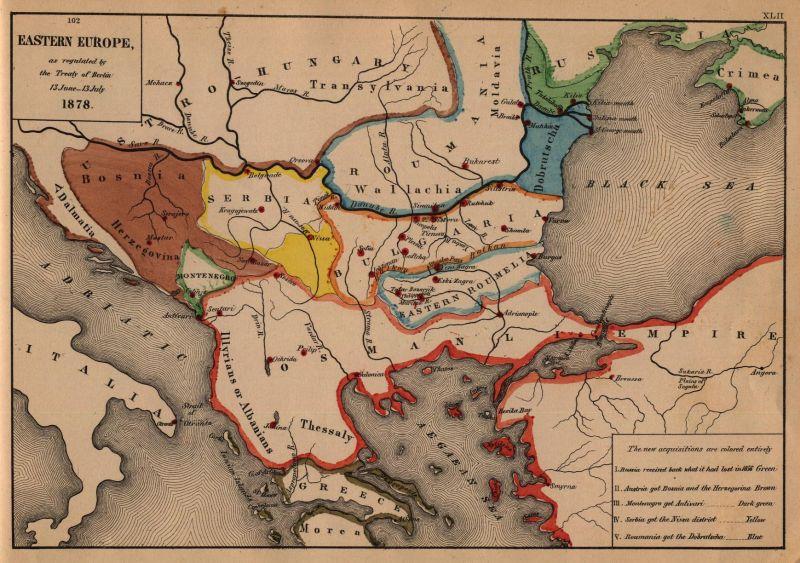 Harta modificărilor frontierelor statelor Europene în urma tratatului de la Berlin 1878 - foto: ieg-ego.eu