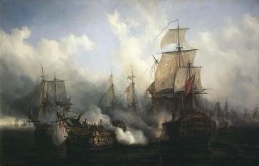 Bătălia de la Trafalgar a avut loc la data de 21 octombrie 1805, în largul Capului Trafalgar, Spania. Ea a avut loc între flota Regatului Unit și flota unită franco-spaniolă, rezultatul bătăliei fiind înfrângerea aliaților franco-spanioli, dar și moartea amiralului englez Horatio Nelson - foto (Bătălia de la Trafalgar de Auguste Mayer): ro.wikipedia.org