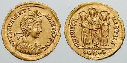 Flavius Placidius Valentinianus (2 iulie 419, Ravenna - 16 martie 455, Roma), cunoscut ca Valentinian III, împărat al Imperiului Roman de Apus (424-455) - foto preluat de pe ro.wikipedia.org