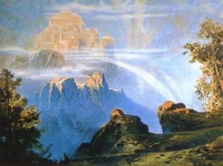 """În mitologia nordică, Valhalla, Valhall (sau Valhöll, în limba nordică veche) este paradisul în care erau duși războinicii vikingi după moartea eroică în luptă - foto (""""Walhalla"""" (1896) de Max Brückner.): ro.wikipedia.org"""