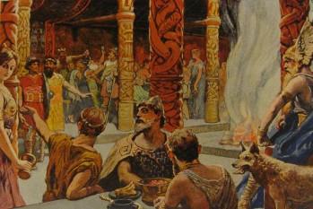 """În mitologia nordică, Valhalla, Valhall (sau Valhöll, în limba nordică veche) este paradisul în care erau duși războinicii vikingi după moartea eroică în luptă -  foto - """"Walhalla"""" (1905) de Emil Doepler.: ro.wikipedia.org"""
