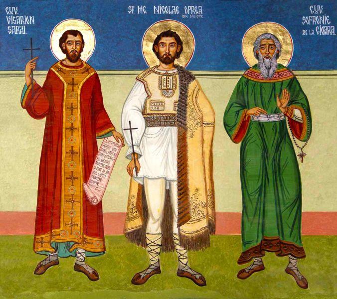 Sfinții Mărturisitori Visarion Sarai, Nicolae Oprea și Sofronie de la Cioara. Prăznuirea lor de către Biserica Ortodoxă Romana se face la data de 21 octombrie - foto: doxologia.ro