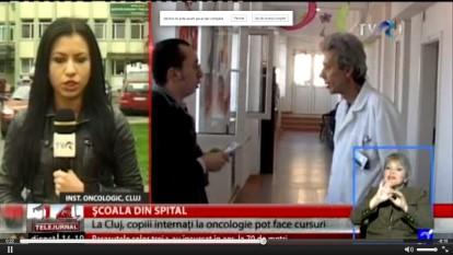 Şcoala din spital. La Cluj, copiii internaţi la Oncologie vor învăţa cu profesori voluntari - foto (captura): stiri.tvr.ro