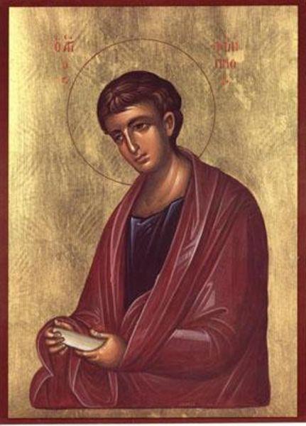 Sfântul, slăvitul și întru tot lăudatul Apostolul Filip a fost unul din cei Doisprezece Apostoli ai lui Iisus Hristos, originar din satul Betsaida (ca și apostolii Petru și Andrei), de meserie pescar. Ar fi murit martirizat prin crucificare în anul 80 d.Hr. la Hierapolis, în Frigia (azi: Pamukkale în Turcia), la vârsta de 87 de ani. Biserica îl prăznuiește pe Sfântul Filip în 14 noiembrie. El nu este același cu Sfântul Filip, prăznuit în 11 octombrie, care a fost unul din Cei Şaptezeci de Apostoli - foto: doxologia.ro