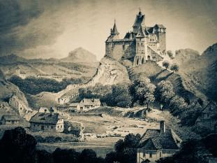 Castelul Bran este un monument istoric și arhitectonic situat în Pasul Bran-Rucăr, la 30 de kilometri de Brașov - foto (Bran de Ludwig Rohbock): ro.wikipedia.org