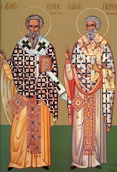 Sfinții Sfințiți Mucenici Clement, Episcopul Romei și Petru, Episcopul Alexandriei. Prăznuirea lor de catre Biserica Ortodoxă se face la data de 24 noiembrie - foto: calendarulortodox.ro