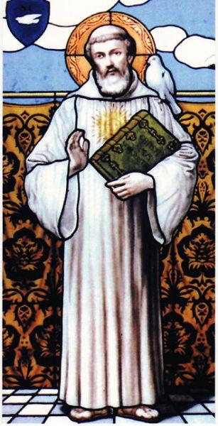Columbanus (Irish: Columbán, 543 – 21 November 615) (Saint Columbanus, stained glass window, Bobbio Abbey crypt) - foto: en.wikipedia.org