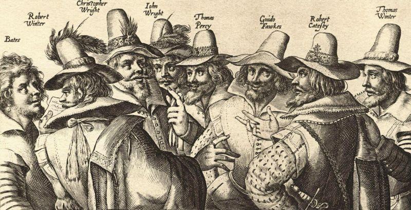 ''Complotul prafului de pușcă'' (5 noiembrie 1605) - litografie monocromă contemporană complotului, realizată de Crispijn van de Passe, prezintă opt din cei treisprezece conspiratori. Lipsesc Digby, Keyes, Rookwood, Grant și Tresham. Guy Fawkes este al treilea din dreapta - foto preluat de pe ro.wikipedia.org