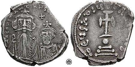 Konstantinos Pogonatos (7 noiembrie 630 - 15 septembrie 668), cunoscut sub numele de Constans II (Constantin, poreclit Pogonatul sau Bărbosul), a fost împărat bizantin între 641 și 668. El era fiul lui Constantin III foto (Constans II şi fiul său Constantin IV): ro.wikipedia.org