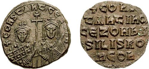 Constantin VII Porfirogenet Nobilul (905 - 9 noiembrie, 959), împărat bizantin între 913 și 959 (între 920 și 945, doar cu titlul, fără funcție în stat), fiul lui Leon VI Filozoful și al Zoei Karbonopsina. - foto (Constantin şi mama sa Zoe): ro.wikipedia.org