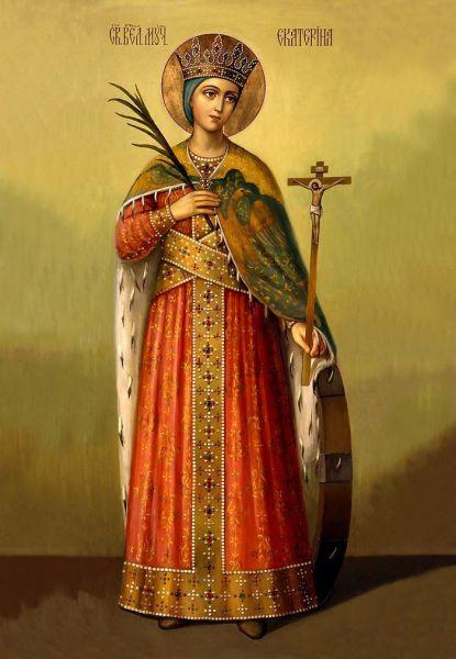 Mărita și slăvita Mare Muceniță Ecaterina din Alexandria a fost fiica guvernatorului Alexandriei egiptene, Contas, în timpul domniei împăratului Maximinus (305-313) și a pătimit pentru Domnul în anul 305. Prăznuirea ei în Biserica Ortodoxă se face în 24 noiembrie (slavii) sau în 25 noiembrie (grecii, românii, arabii) - foto: ro.orthodoxwiki.org